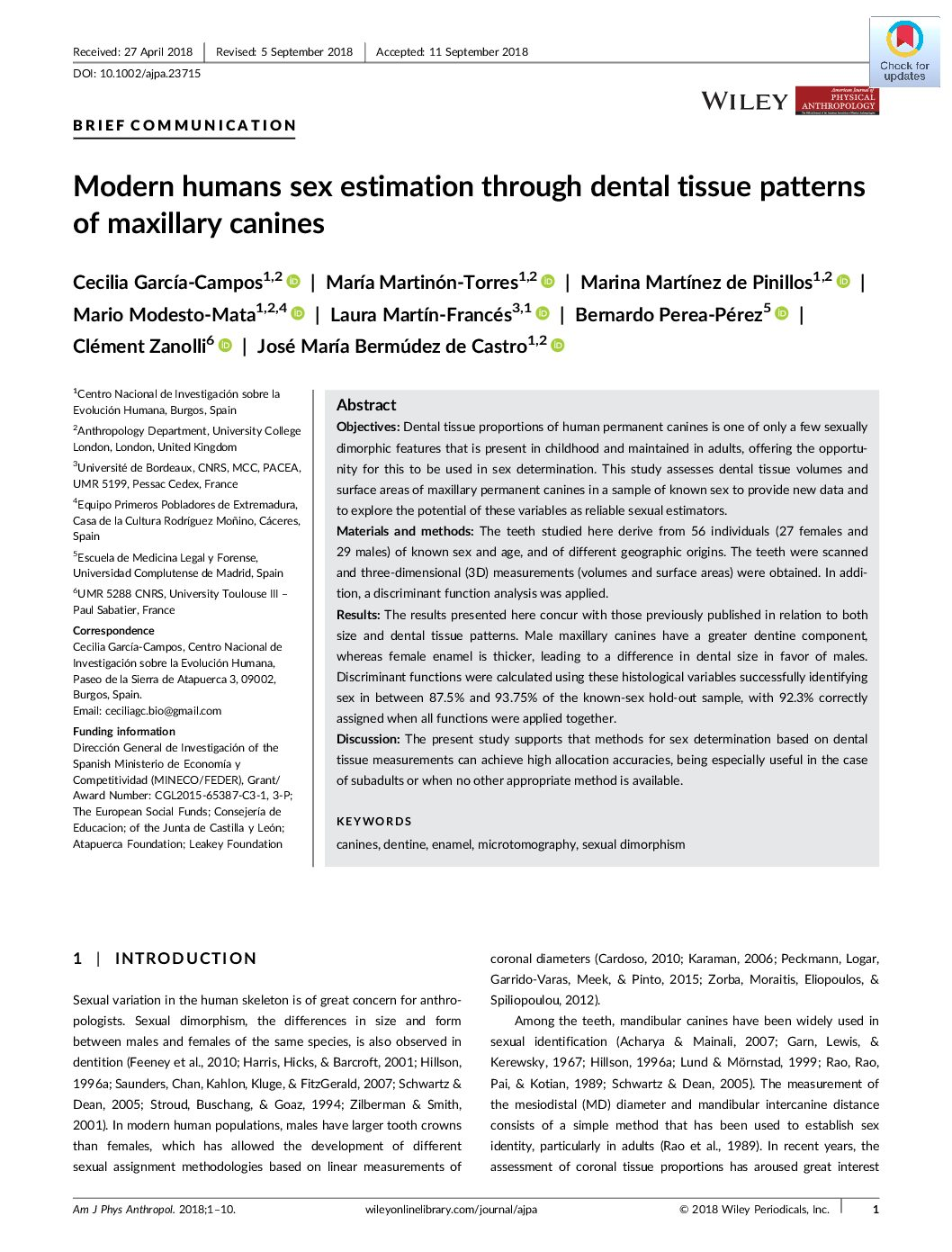 Modern humans sex estimation through dental tissue patterns of maxillary canines