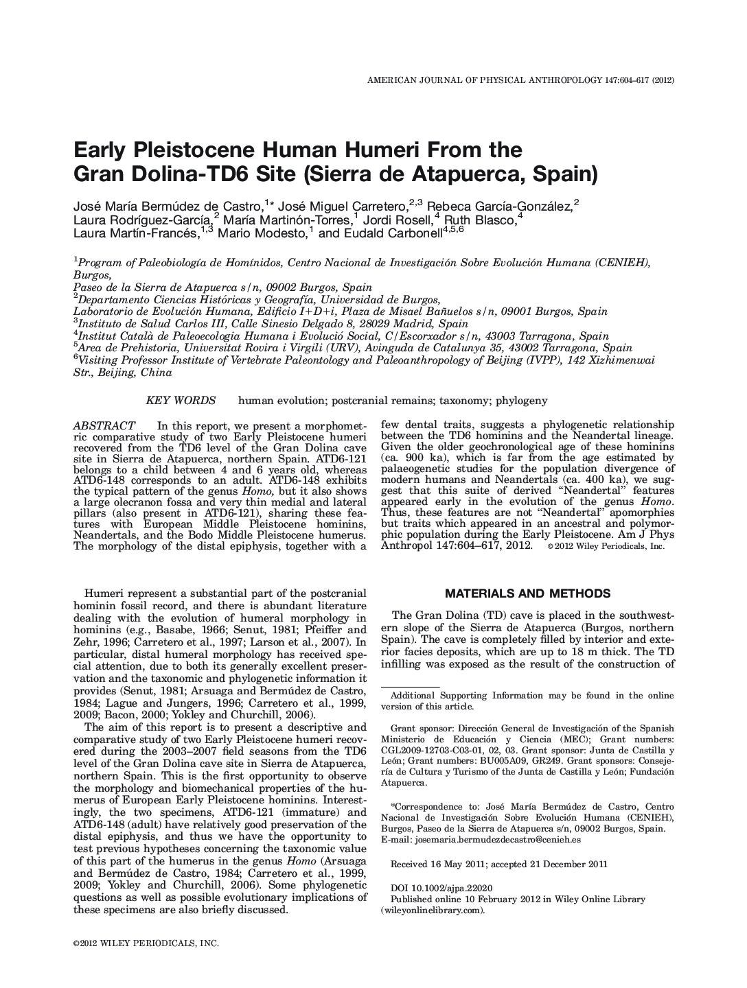 Early Pleistocene human humeri from the Gran Dolina-TD6 site (Sierra de Atapuerca, Spain)
