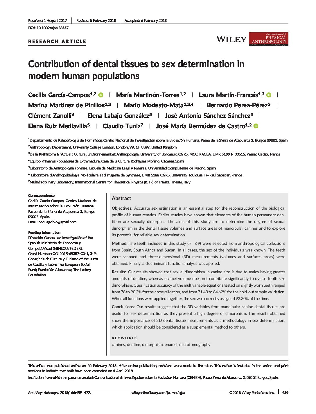 Contribution of dental tissues to sex determination in modern human populations