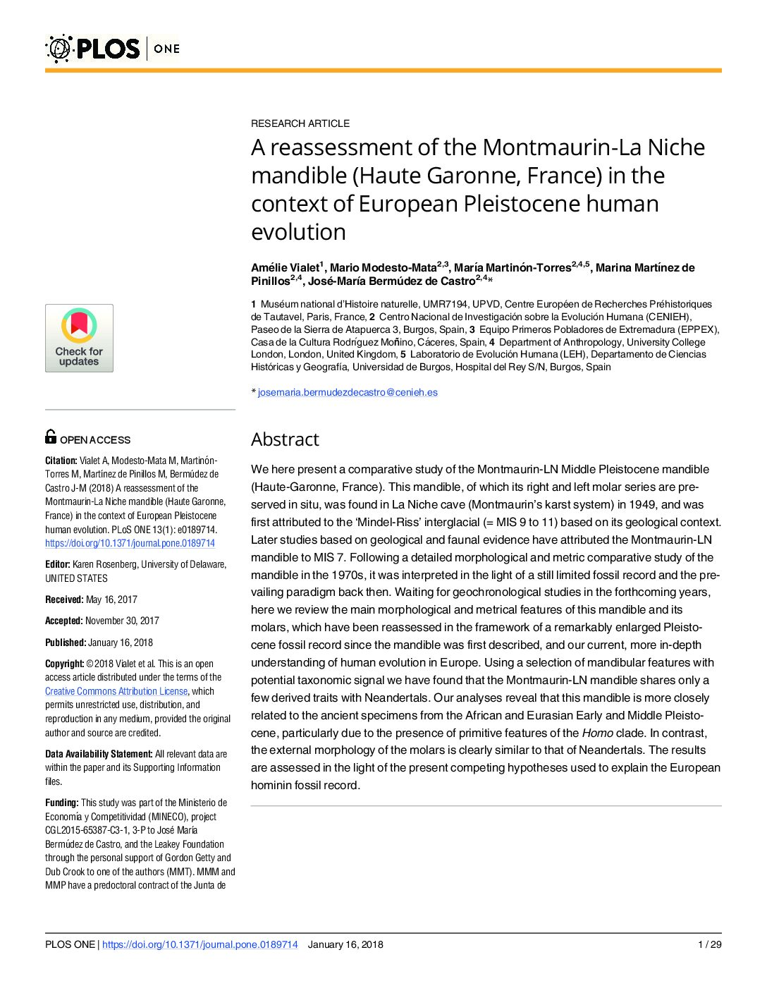 A reassessment of the Montmaurin-La Niche mandible (Haute Garonne, France) in the context of European Pleistocene human evolution