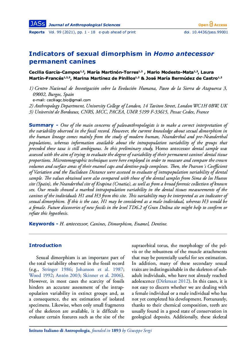 Indicators of sexual dimorphism in Homo antecessor permanent canines