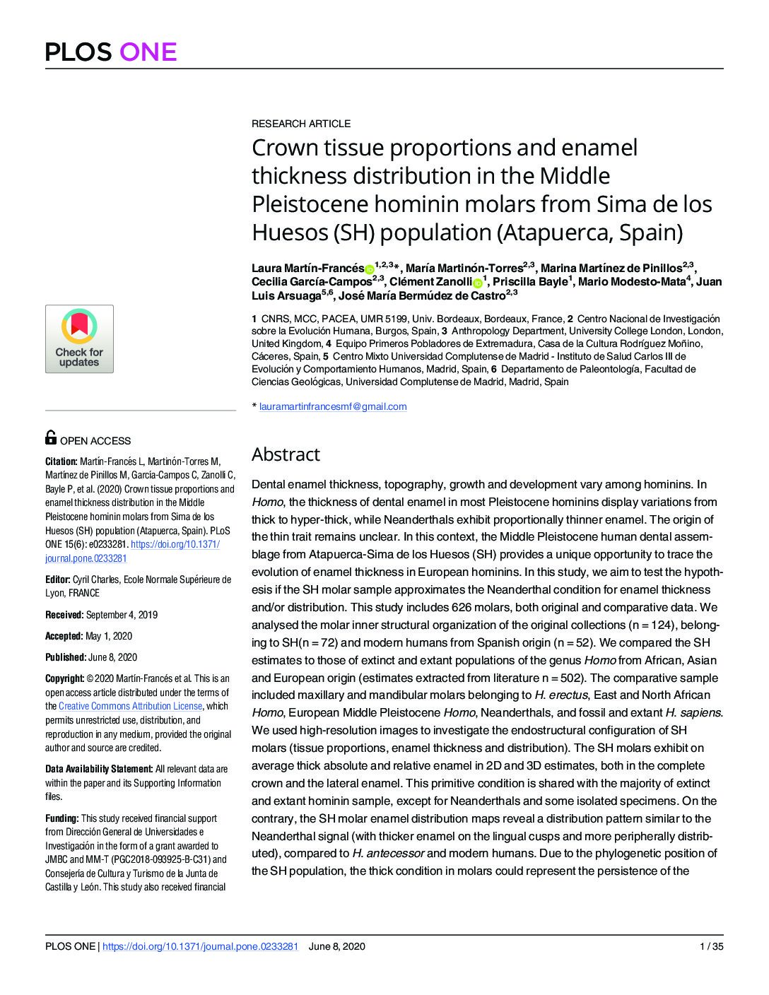 Crown tissue proportions and enamel thickness distribution in the Middle Pleistocene hominin molars from Sima de los Huesos (SH) population (Atapuerca, Spain)