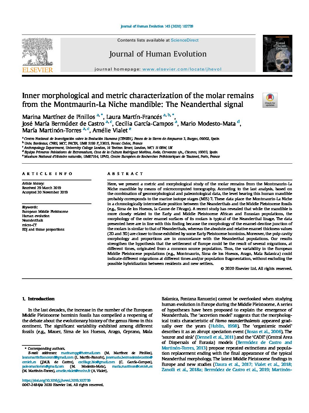 Inner morphological and metric characterization of the molar remains from the Montmaurin-La Niche mandible: The Neanderthal signal