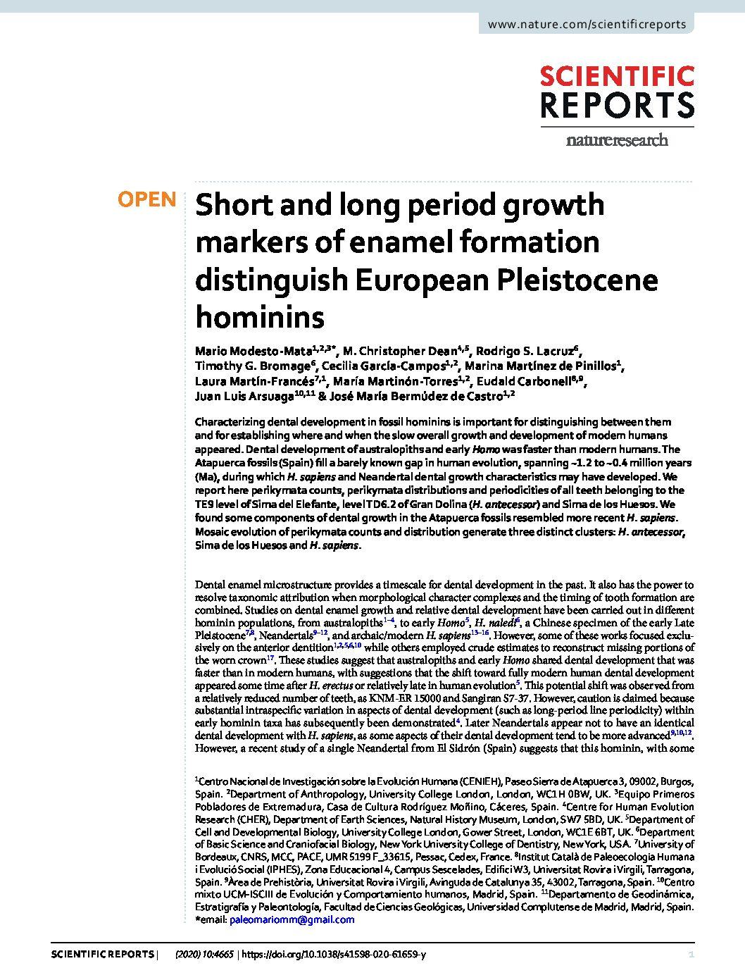Short and long period growth markers of enamel formation distinguish European Pleistocene hominins